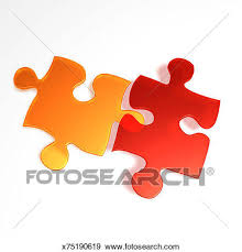 stock illustration of two interlocking 3d puzzle pieces x75190619