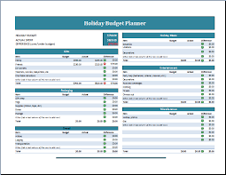 family or business holiday budget planner template formal word