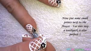 net french nail art tutorial black white nails with flower design