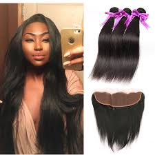 peruvian hair on reginae 3 bundles with frontal closure straight brazilian hair with ear to