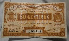 chambre du commerce cherbourg billet de necessité 50 centimes chambre de commerce de chambery