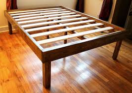 Raised Platform Bed Brown Wood High Raised Platform Bed Frame For Queen Size With