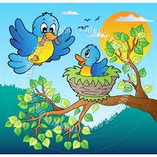cartoon bird nest in tree