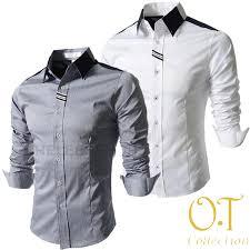 Kemeja Alisan Slim Fit hem excellior ot pakaian pria kemeja slim fit warna abu dan putih
