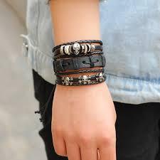 leather bracelet fashion images Ziris new 6pcs black set punk skull genuine wrap leather jpg