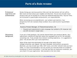 Samples Of Achievements On Resumes by Bain Resume Sample