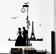 online get cheap paris wall mural aliexpress com alibaba group romantic lovers in paris silhouette black wall art decal sticker removable vinyl transfer stencil mural home