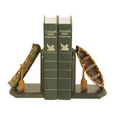 set of camping canoe bookends