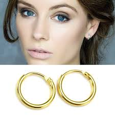 sleepers earrings 14k gold plated on 925 sterling silver hinged hoop sleepers