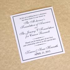 wedding registry donations charity wedding donation card favor card deposit
