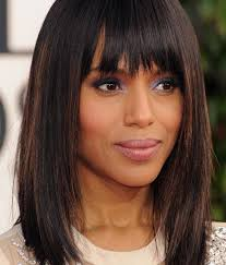 blunt fringe hairstyles kerry washington mid length hairstyles haircut with