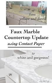 diy faux marble countertop update rental bathroom contact paper