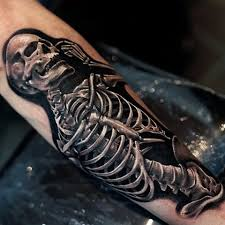 black and grey skeleton on arm sleeve by khan