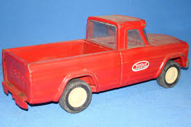 red toy jeep tonka toys pressed steel metal red jeep pickup truck vintagetoys