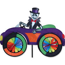skeleton in a car halloween decoration yard spinner yard