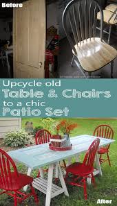 Patio Table And Chair Sets How To Turn An Old Door And Chairs Into Chic Diy Patio Set Or