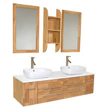 59 inch natural wood modern double vessel sink bathroom vanity
