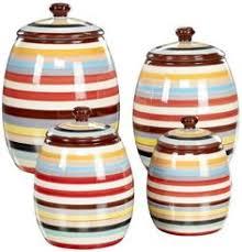 set of 4 rainbow and white bright stripes ceramic kitchen