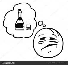 alcohol vector vector stickman cartoon of thirsty drinker dreaming about alcohol