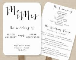 wedding program fan template order of service fan etsy