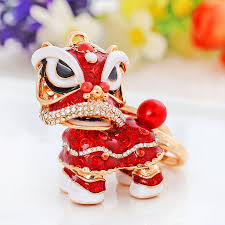 acrylic lion ring holder images Chinese style lion dance keychain ancient mascot key chains jpg
