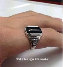 black garnet ring custom art deco handmade in solid 925 sterling
