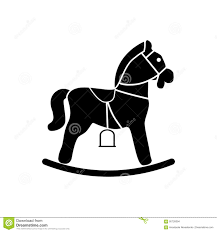 horse baby shower invitations rocking horse icon black silhouette stock vector image 95726094