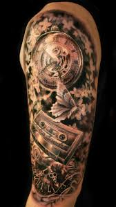 Mens Half Sleeves - amazing detail and shading mens half sleeve clock casette