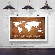 World Map Wood Wall Art by World Map Travel Motivation Quote Poster Travel Is The Only