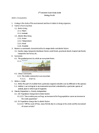 2nd semester exam study guide biology unit 6 forests rain