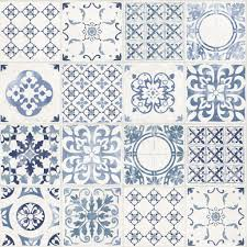 Tile Wallpaper Ideco Home Porto Tile Wallpaper A22903 Blue Cut Price