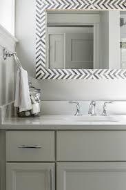 Polished Nickel Vanity Mirror White Bathroom With Gray Chevron Mirror Transitional Bathroom