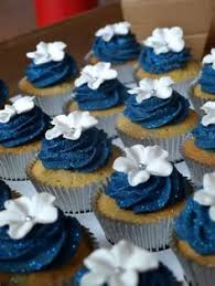 navy blue wedding cupcakes maybe with a peach or salmon color too