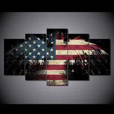 Hd American Flag Hd Printed Eagle Usa Flag Digital Art Painting Canvas Print Room