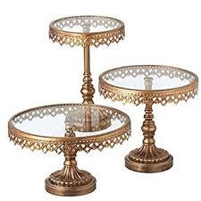 3 pedestal stand set color gold cake stands