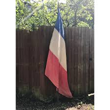 Frebch Flag Very Large 1940s Vintage French Flag With Finial Pedlars