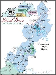 cumberland lake map daniel boone national forest districts