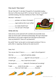 Countable And Uncountable Some Any Exercises Pdf How Much How Many Some Any Worksheet Free Esl Printable