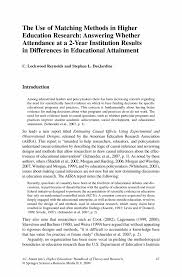 the use of matching methods in higher education research