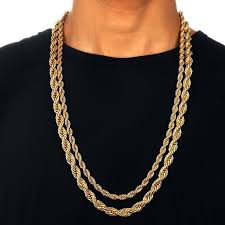 long mens necklace images Men 39 s 6 mm 9 mm thick 30 quot long solid rope chain 24k yellow gold jpg