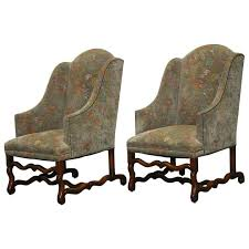 Upholstered Wingback Chair Pair Of Walnut Os De Mouton Upholstered Wingback Chairs For Sale