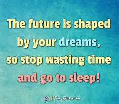 future is shaped by your dreams so stop wasting time and go to sleep