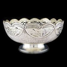 silver items silver flower bowl