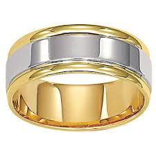 mens two tone wedding bands zales men s 8 0mm comfort fit wedding band in 14k two tone gold