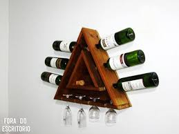 triangular pallet wine rack for 6 bottles and 4 cups 10 steps