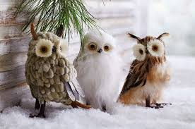 Natural Christmas Decorations Christmas Decorations Natural Owls Christmas Decorations Set Of