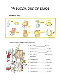 worksheets prepositions of place u2013 show and text