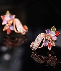Curvacious Yellow Chimes Multicolor Swiss Cubic Zirconia 18k Rose Gold Plated