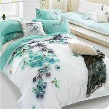 Cotton Bedding Sets Pale Turquoise Floral And Bird Print Bedding Sets Size 100