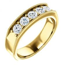 mens stone rings images Mens five stone wedding ring in 14k yellow gold mens five stone jpg